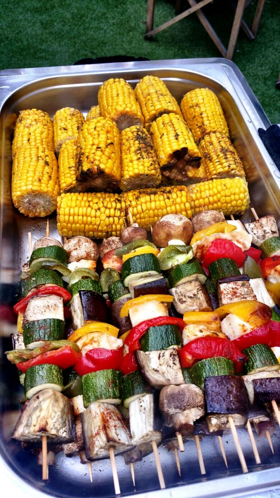 Roasted Vegetable Skewers, Corn On The Cob